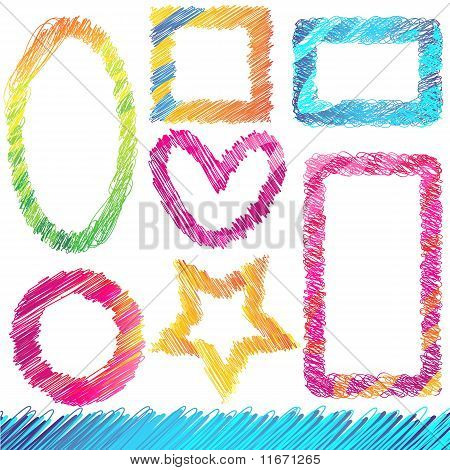 Set of Colorful Doodled Frames