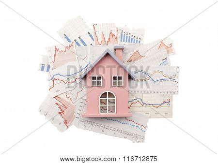 House on newspaper charts with clipping path