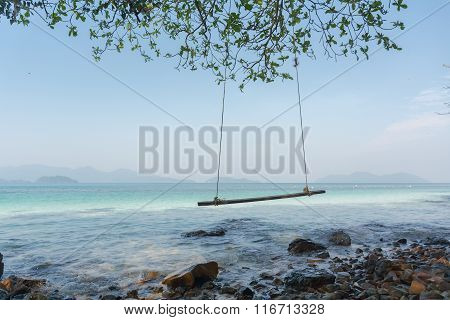 Swings At Tree On The Sand And Rock Beautiful Tropical Beach At Koh Wai Island, Trat, Thailand.
