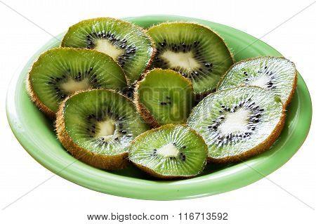 Kiwi Fruit Slices On Plate