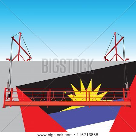 Wall Industrial Building With Flag Of Antigua And Barbuda