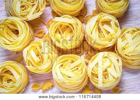 Raw Tagliatelle Close-up