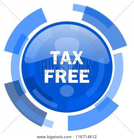 tax free blue glossy circle modern web icon