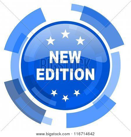 new edition blue glossy circle modern web icon