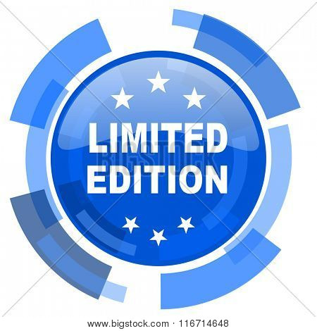 limited edition blue glossy circle modern web icon