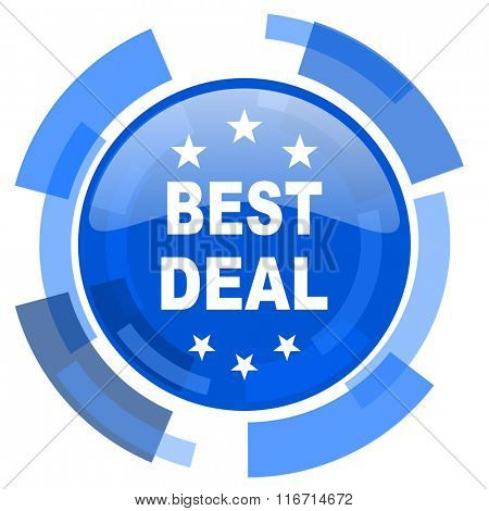best deal blue glossy circle modern web icon