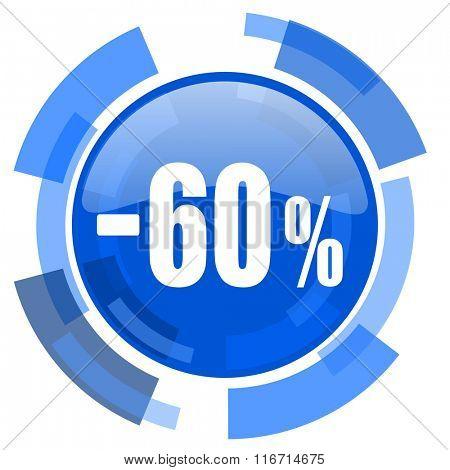 60 percent sale retail blue glossy circle modern web icon