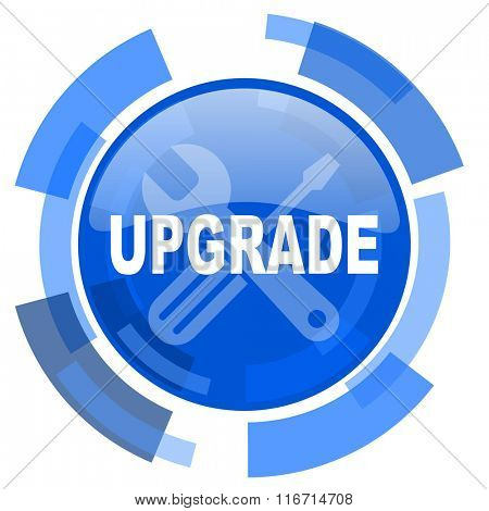 upgrade blue glossy circle modern web icon