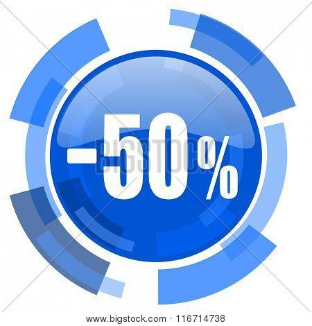 50 percent sale retail blue glossy circle modern web icon