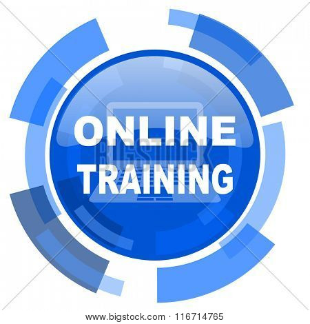 online training blue glossy circle modern web icon