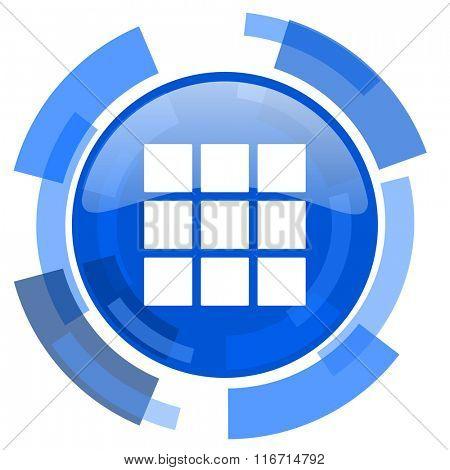 thumbnails grid blue glossy circle modern web icon