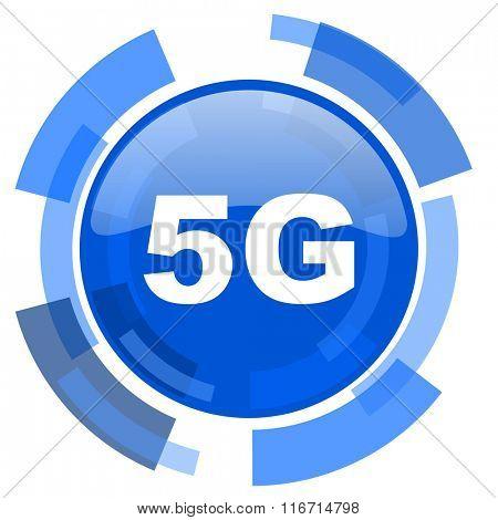 5g blue glossy circle modern web icon