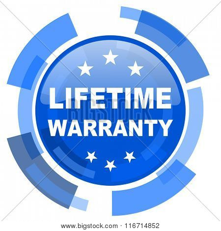 lifetime warranty blue glossy circle modern web icon