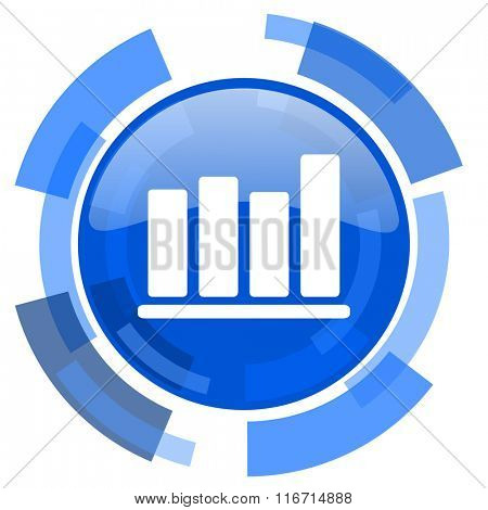 bar chart blue glossy circle modern web icon