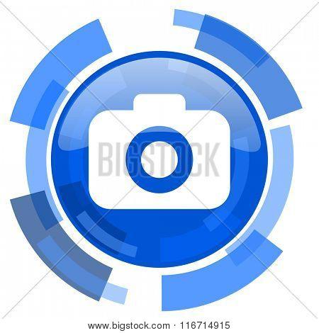 photo camera blue glossy circle modern web icon