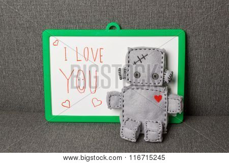 Robot Soft Toy. I Love You.