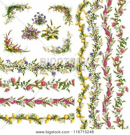 Vector floral Pattern Brushes for your design