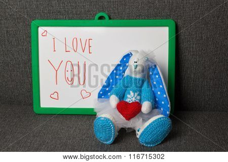 I Love You. Bunny Soft Toy.