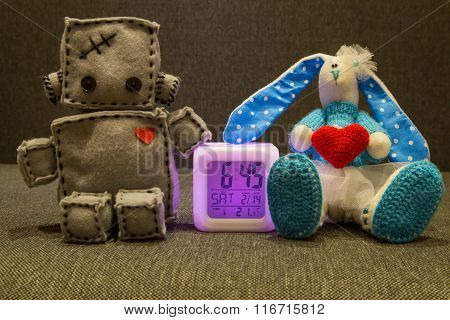 Robot  and Bunny. Soft Toys at Valentines Day.
