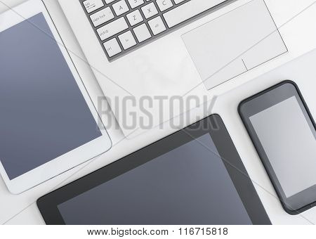 Flat lay photo of gadgets
