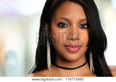 Portrait of African American woman inside office building