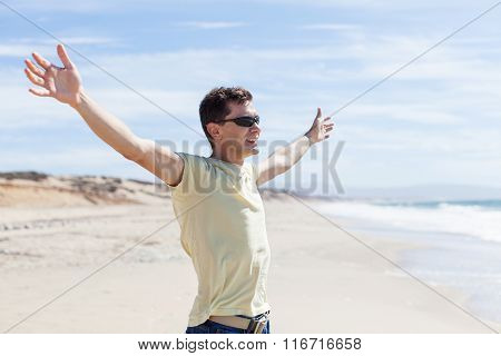 Man With Hands Wide Open