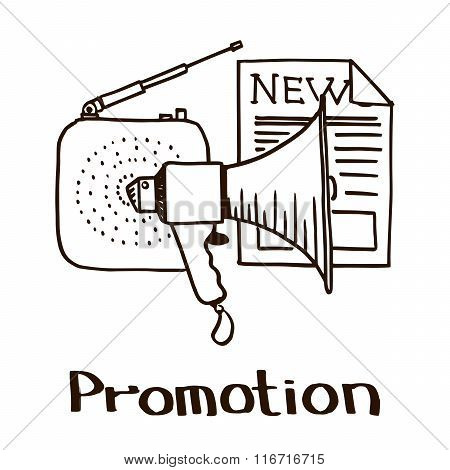 Image with the attributes of promotion as a marketing stage