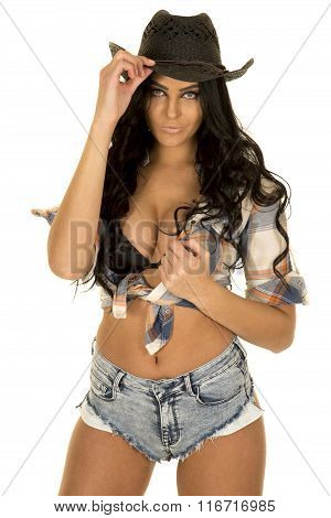 Cowgirl Short Denim Shorts In Hat Stand Hold Shirt