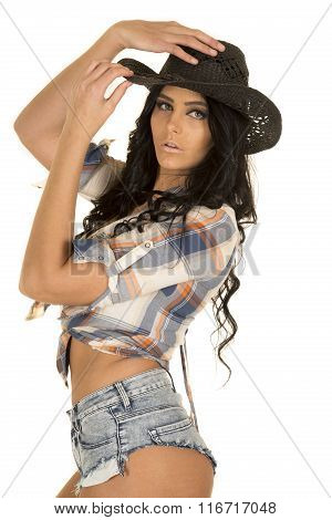 Cowgirl Short Denim Shorts Stand In Hat Serious