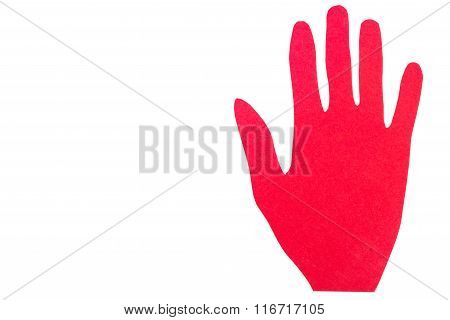 Hand Of Red Paper Showing Stop Sign