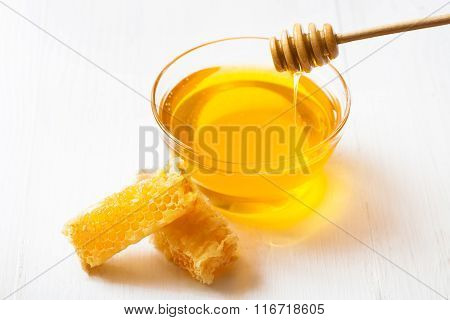 Honey With And Wooden Spoon