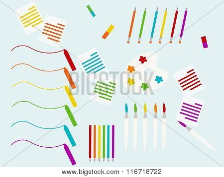 Background with school supplies set, vector illustration.