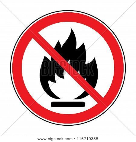 No Fire Open Flame Sign