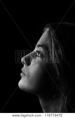 Monochrome Portrait Of Young Beautiful Girl