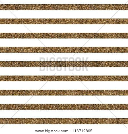 Pattern With Gold Glitter Textured Lines On White Background.