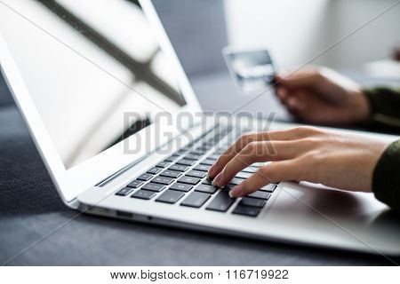 Hands holding credit card and using laptop