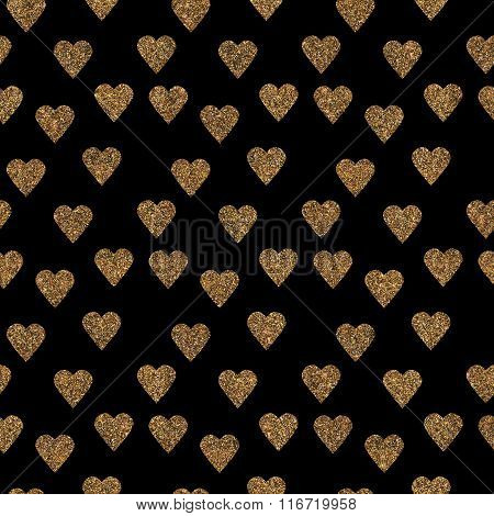 Pattern With Gold Glitter Textured Hearts Confetti Print Background.