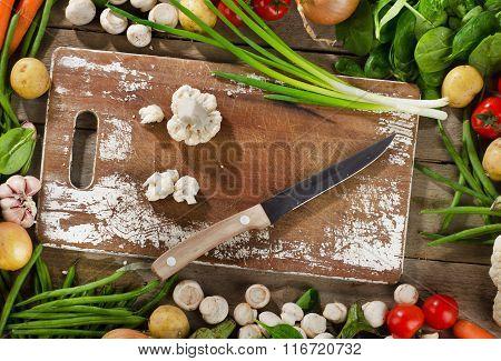 Fresh Raw Organic Vegetables. Healthy Food Background.