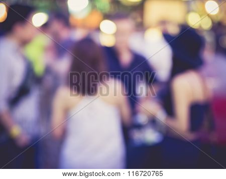 Blurred Hipster Women Party in Festival Event Background