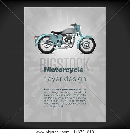 Flayer or placard with motorcycle