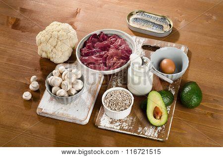 Foods Highest In Vitamin B5 (pantothenic Acid) On Wooden Background