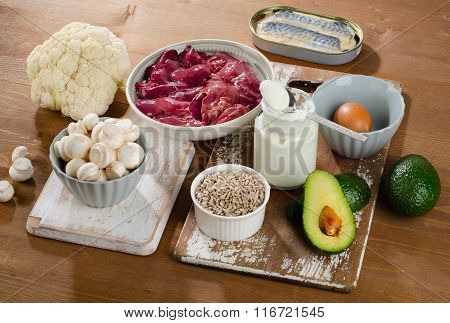 Foods Highest In Vitamin B5 (pantothenic Acid) On A Wooden Background