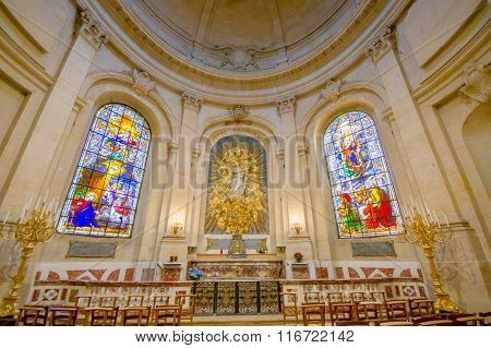 Paris, France June 1, 2015: Inside Church of Notre Dame in Versailles, beautiful arches and interior