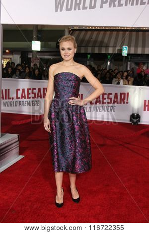 LOS ANGELES - FEB 1:  Alison Pill at the Hail, Caesar World Premiere at the Village Theater on February 1, 2016 in Westwood, CA