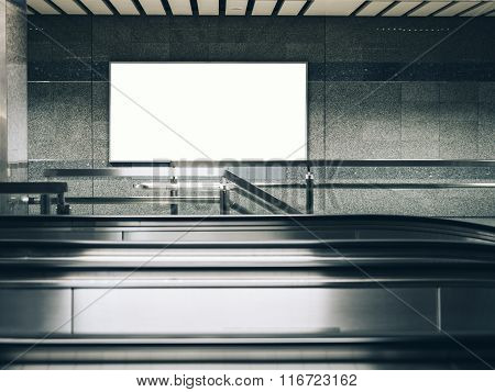Blank Billboard Banner Poster Light Box In Subway Station