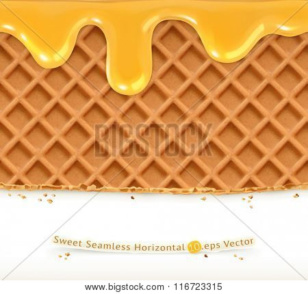 Waffles and honey, horizontal seamless vector pattern