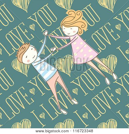 seamless vector card with heart, I love you words and couple