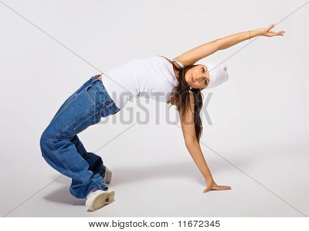 Young tomboy in breakdance