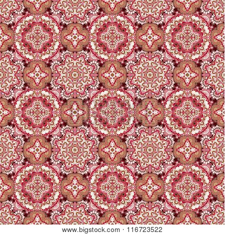Colorful Lace Pattern With Ornate Elements. Pink Brown Abstract Background.