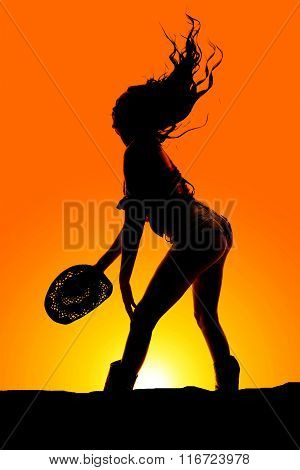 Silhouette Cowgirl Shorts Butt Out Hat Down